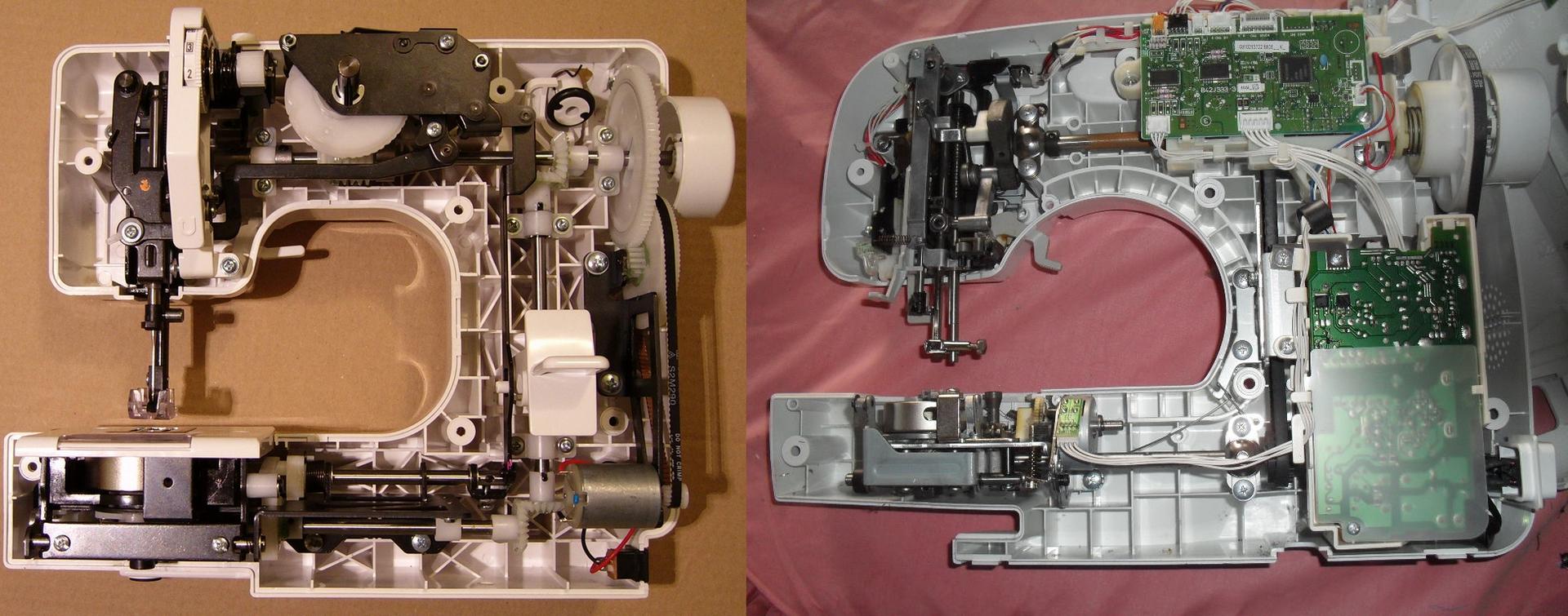Mécanisme intérieur d'une machine à coudre coudre mécanique vs électronique