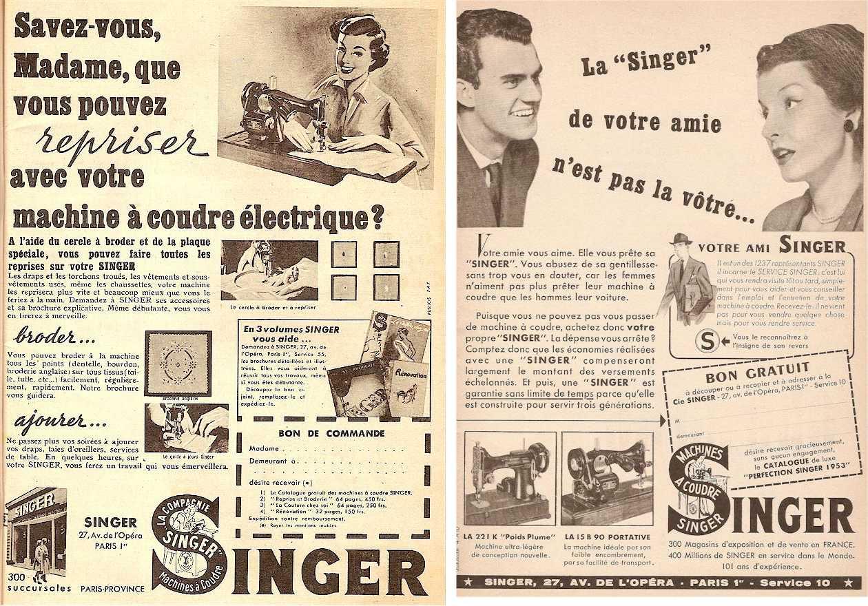 Anciennes publicités Singer (1952-1953)