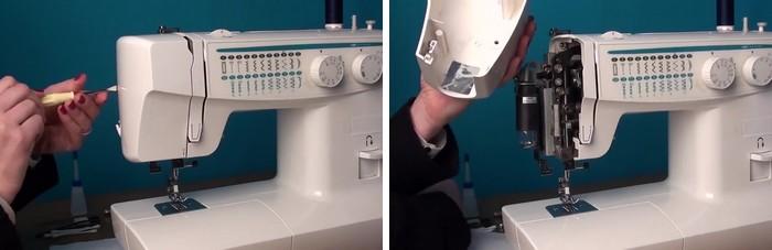 Retirer le cache supérieur de la machine à coudre